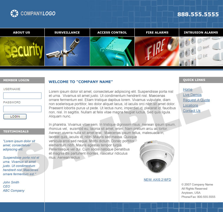 Security Website Templates Including Surveillance Cctv Or